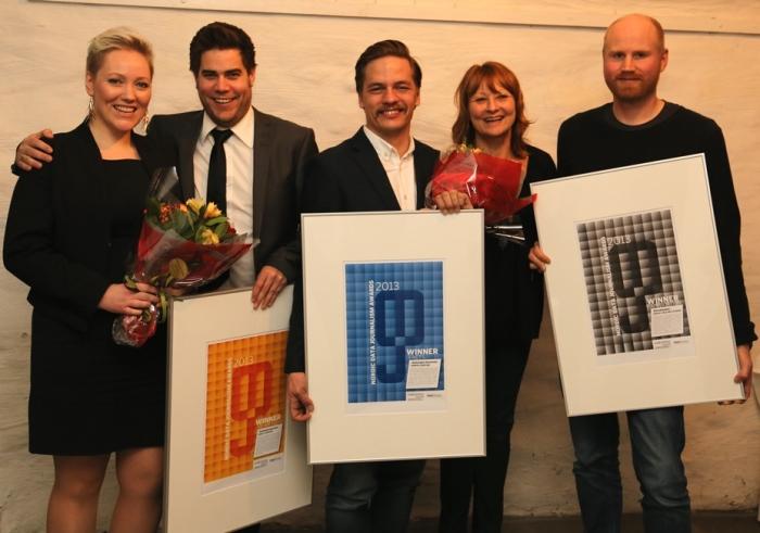 Vinnerne fra første NODA Awards i Stockholm november 2013, fra Sunnmørsposten, Helsingin Sanomat og Aftonbladet.